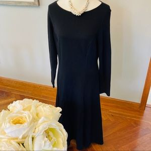 Talbots petite new black long sleeve dress 14